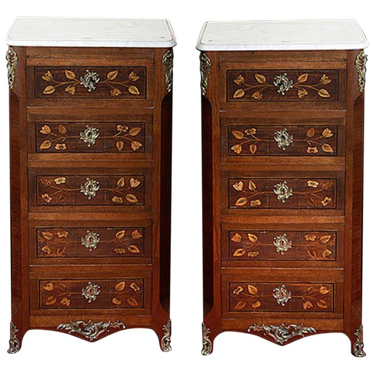 Pair of Continental Walnut, Rosewood and Satinwood Marquetry Chests For Sale