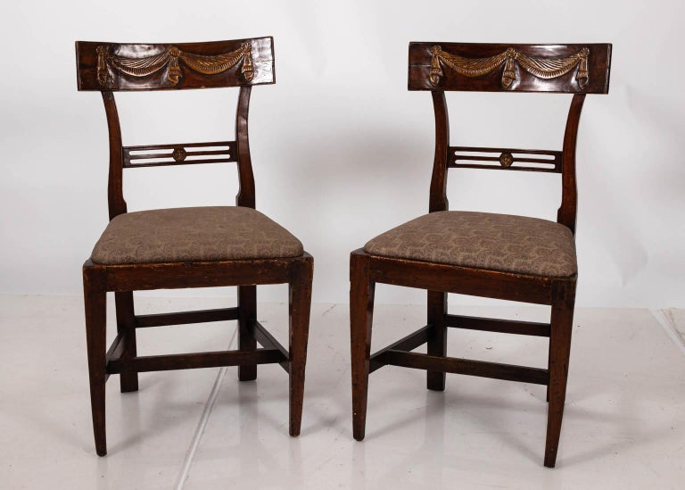 18th Century and Earlier Pair of Continental Walnut Side Chairs For Sale