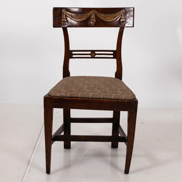 Upholstery Pair of Continental Walnut Side Chairs For Sale