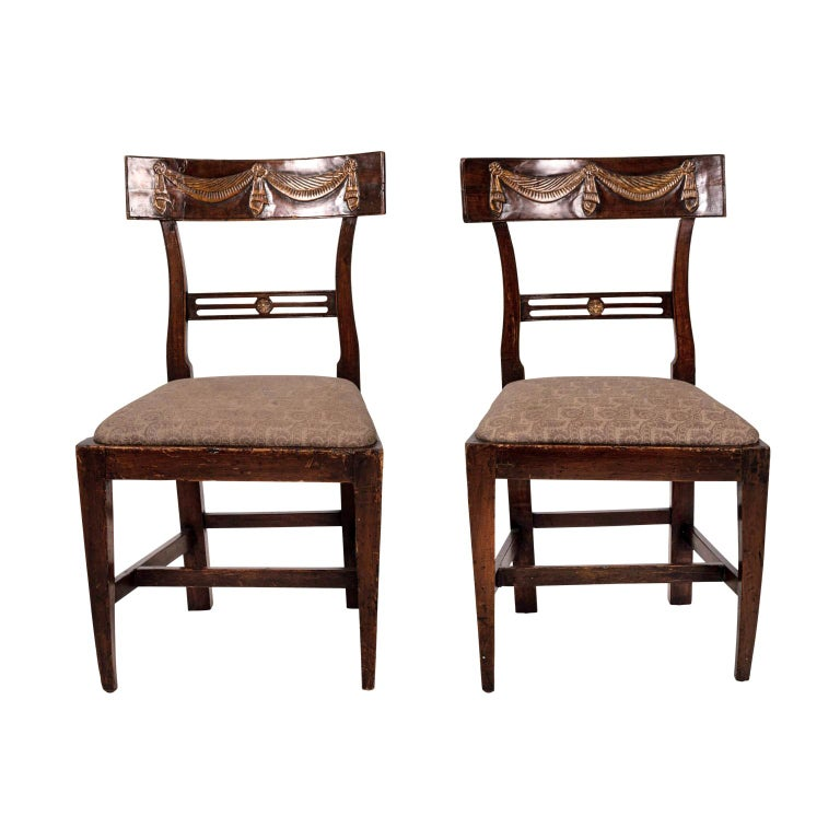 Pair of Continental Walnut Side Chairs For Sale