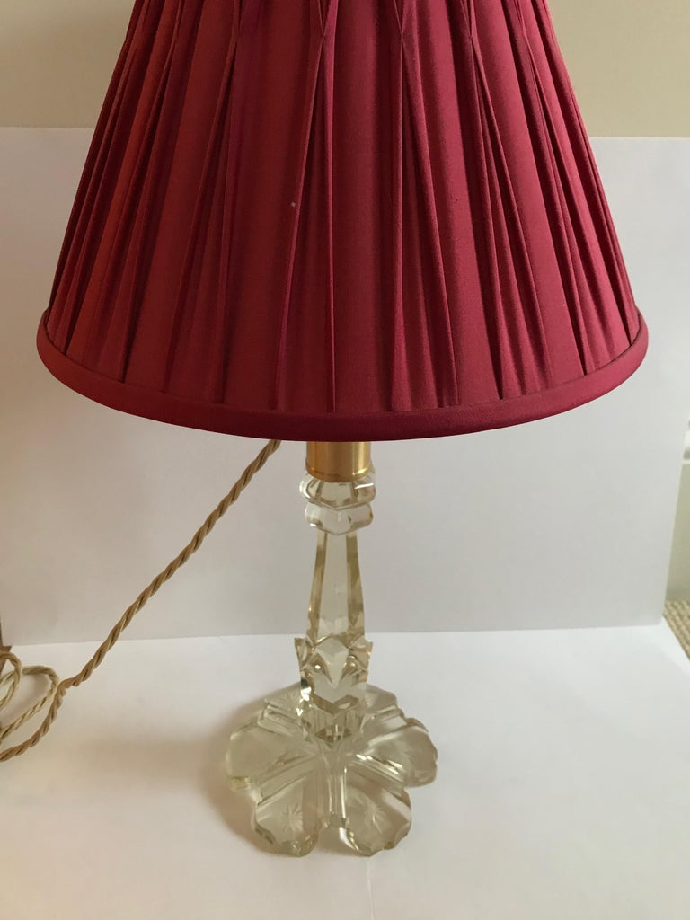 Pair of Converted 19th Century Antique Crystal Table Lamps For Sale 11