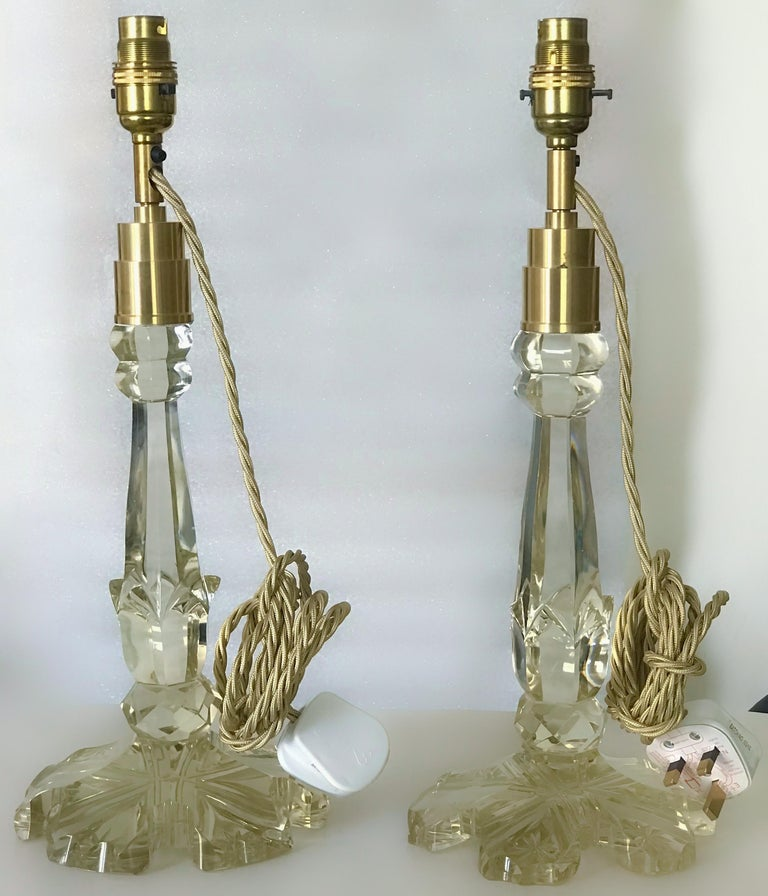 Antique 19th Century crystal candleholder centrepiece bases, converted to table lamps.  Brand new wiring.