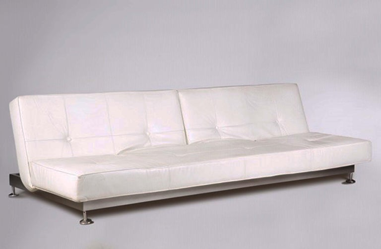Genuine White Leather Convertible Sofas by Edra, Pair