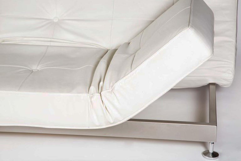 Genuine White Leather Convertible Sofas By Edra Pair