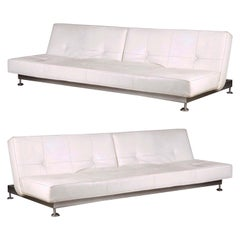 Pair of Convertible Bed White Real Leather Sofas by Edra
