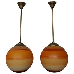 Pair of Cool & Colorful Midcentury / Space Age Glass Globe Planet Like Pendants