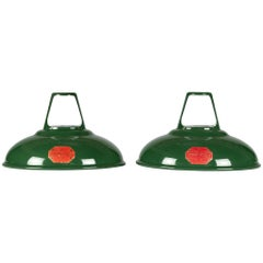 Pair of Coolicon Polished Enamel Lamp Shades, circa 1933