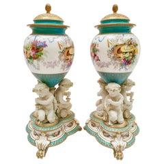 Pair of Copeland Potpourri Vases, Parian Putti Squeezing Grapes, 1891