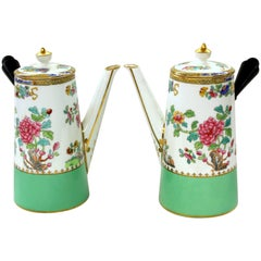 "Pair of Copeland 'Spode' Porcelain ""Peacock and Peony"" Cafe' au Lait Pots"