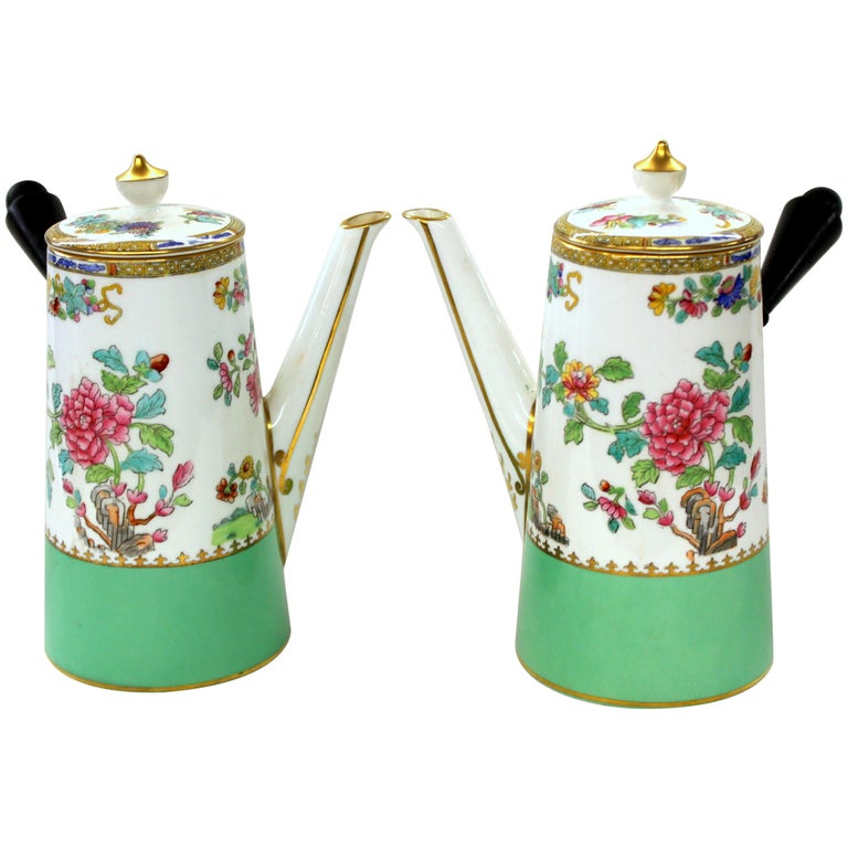 """Pair of Copeland 'Spode' Porcelain """"Peacock and Peony"""" Cafe' au Lait Pots For Sale"""
