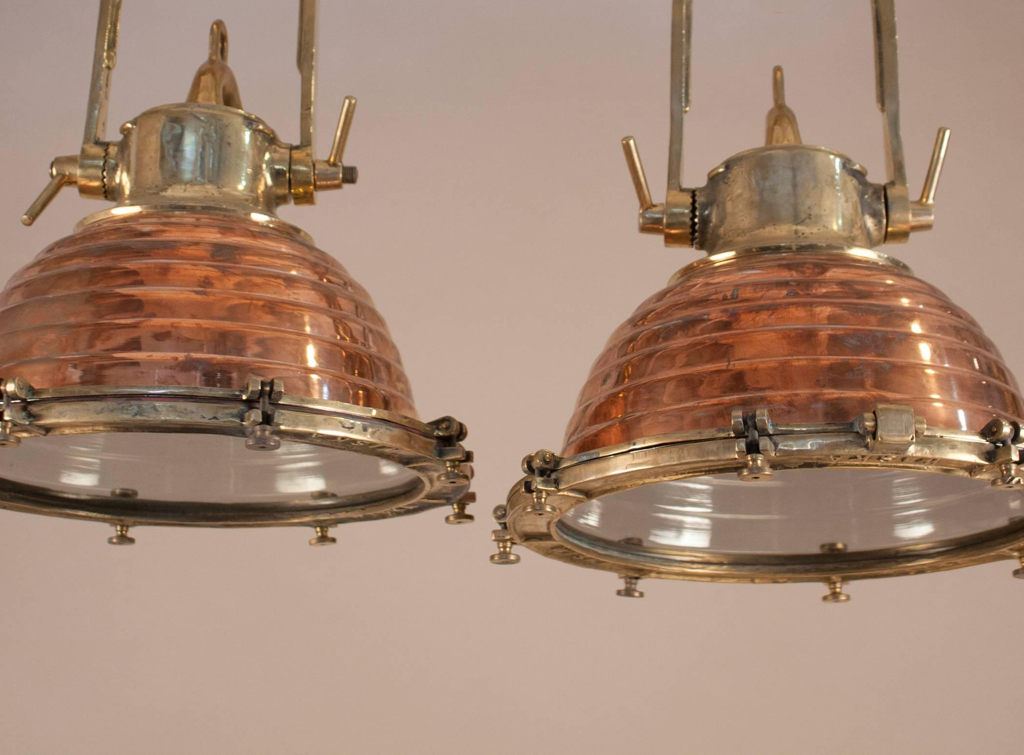 Pair Of Copper And Brass Nautical Pendant Lights