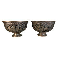 Pair of Copper and Silver Inlaid Decorative Persian Vases