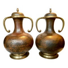 Pair of Copper Arts & Crafts Lamps