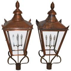 Pair of Copper & Brass Exterior Williamsburg Style Lanterns