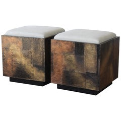 Pair of Copper Clad Stools in the Style of Paul Evans, USA, 1970s