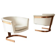 Pair of Copper Framed Cantilevered Chairs, 1970s / Milo Baughman Style, USA