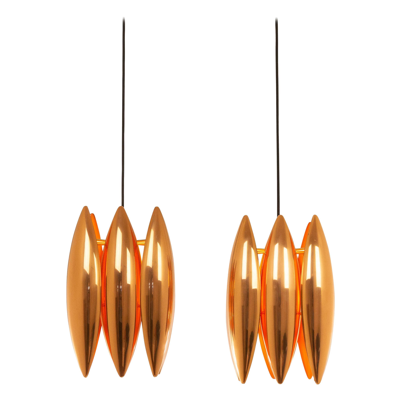 Pair of Copper Kastor Pendants by Jo Hammerborg for Fog & Mørup, 1960s