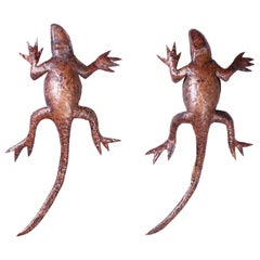 Pair of Copper Lizard Wall Sconces