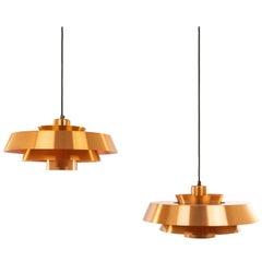 Pair of Copper Nova Pendants by Jo Hammerborg for Fog & Mørup, 1960s