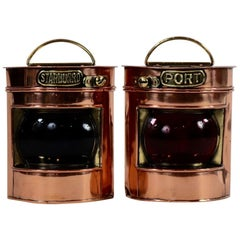 Pair of Copper Port and Starboard Lanterns