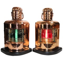 Pair of Copper Port and Starboard Ships Lanterns