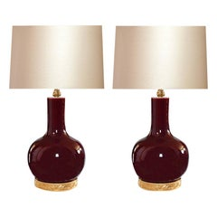 Pair of Copper Red Glazed Porcelain Lamps