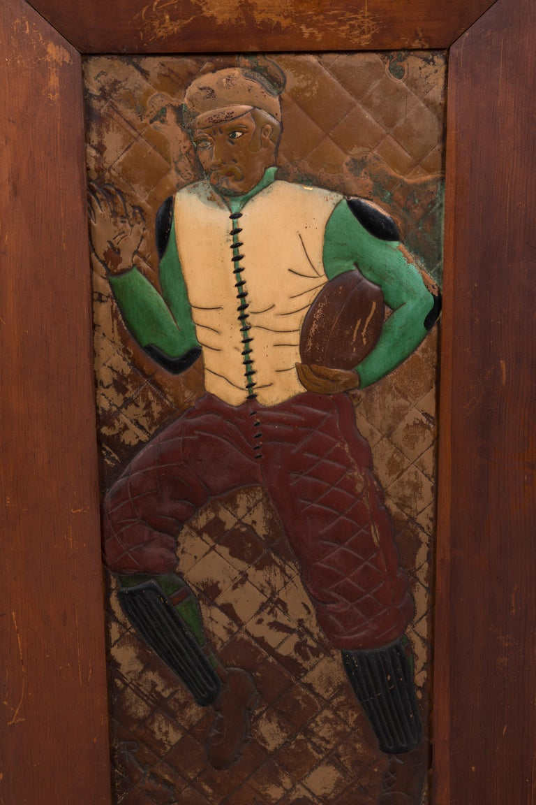 American Pair of Copper Relief Football Player Wall Hangings Period Football Uniforms For Sale