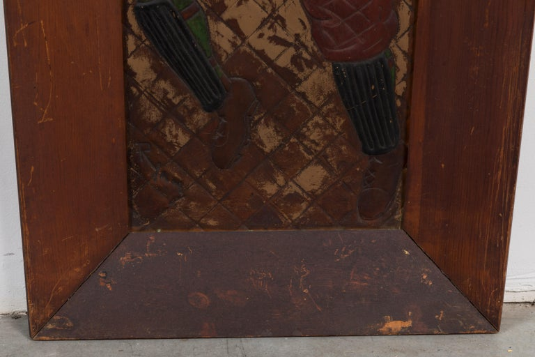 Pair of Copper Relief Football Player Wall Hangings Period Football Uniforms In Good Condition For Sale In Santa Monica, CA