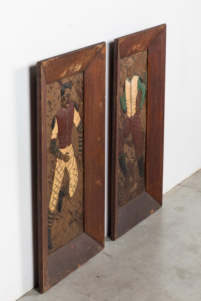 Early 20th Century Pair of Copper Relief Football Player Wall Hangings Period Football Uniforms For Sale