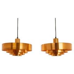 Pair of Copper Roulet Pendants by Jo Hammerborg for Fog & Mørup, 1960s