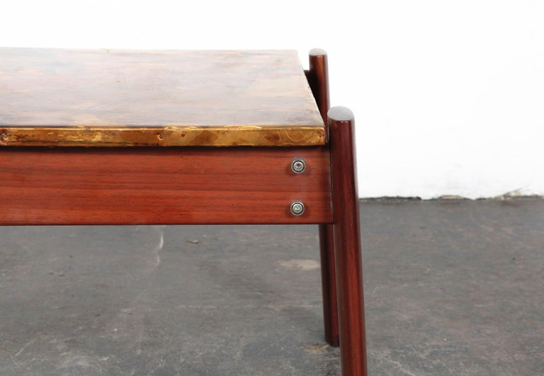 Pair of Copper Top Solid Imbuia Wood End Table Designed by Percival Lafer For Sale 4