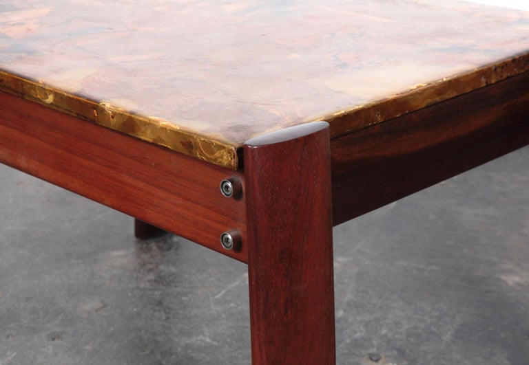 Pair of Copper Top Solid Imbuia Wood End Table Designed by Percival Lafer For Sale 5