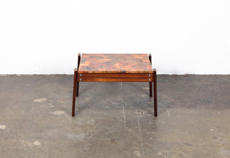 Pair of Copper Top Solid Imbuia Wood End Table Designed by Percival Lafer For Sale 6