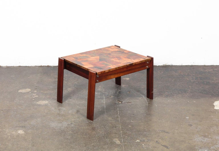 Pair of Copper Top Solid Imbuia Wood End Table Designed by Percival Lafer For Sale 7