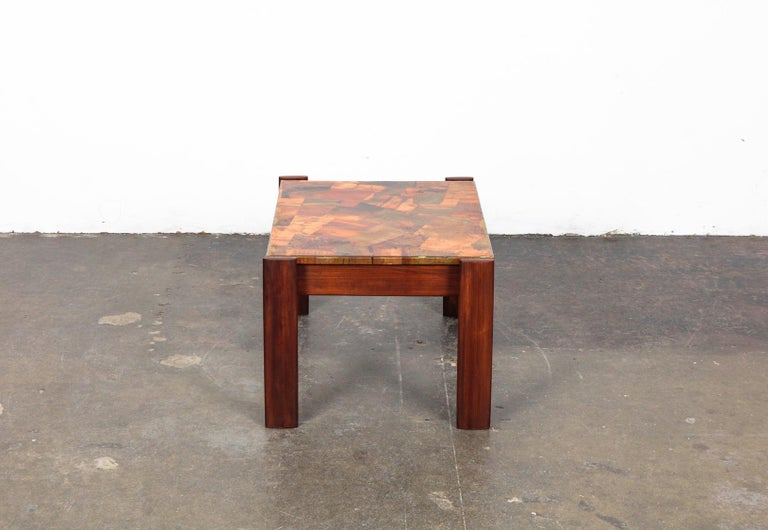 Pair of Copper Top Solid Imbuia Wood End Table Designed by Percival Lafer For Sale 8