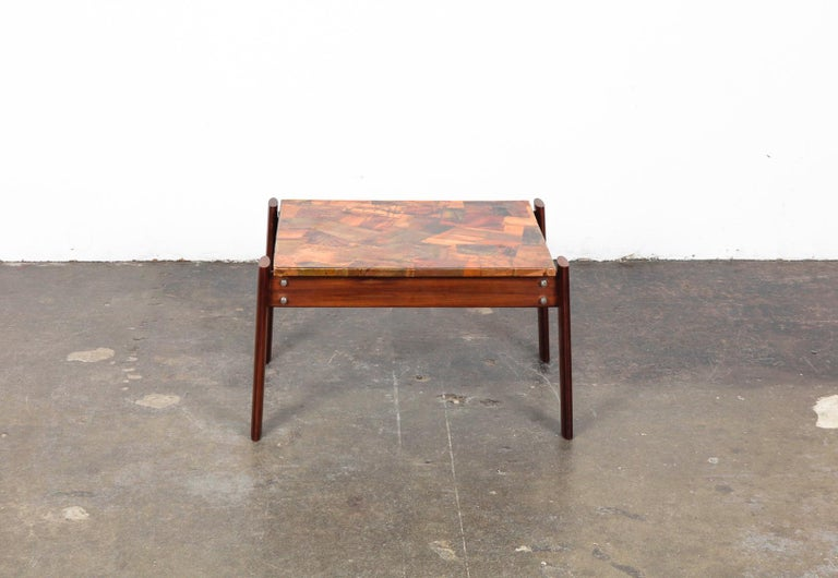 Pair of Copper Top Solid Imbuia Wood End Table Designed by Percival Lafer For Sale 9