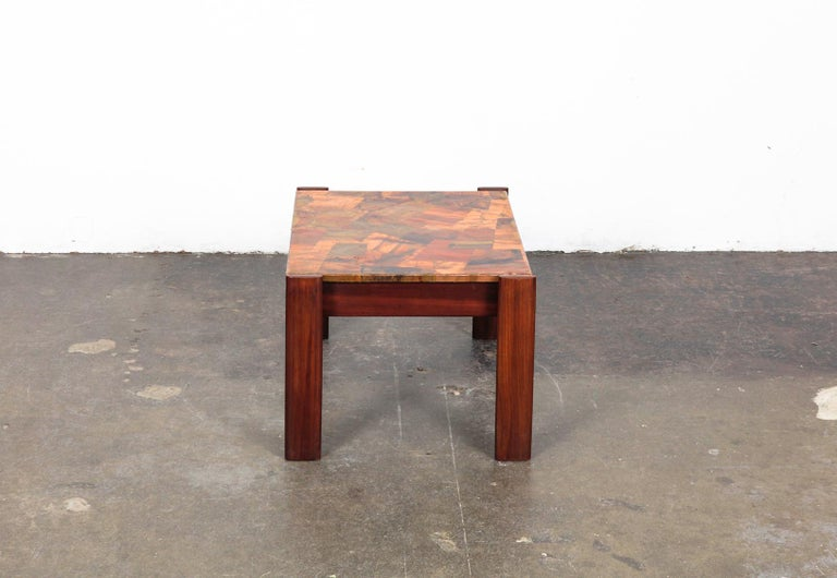 Pair of Copper Top Solid Imbuia Wood End Table Designed by Percival Lafer For Sale 10