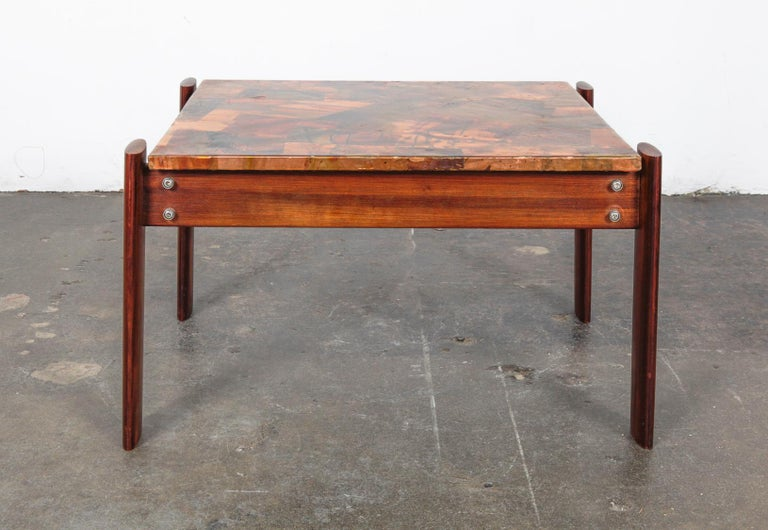 Pair of Copper Top Solid Imbuia Wood End Table Designed by Percival Lafer For Sale 13