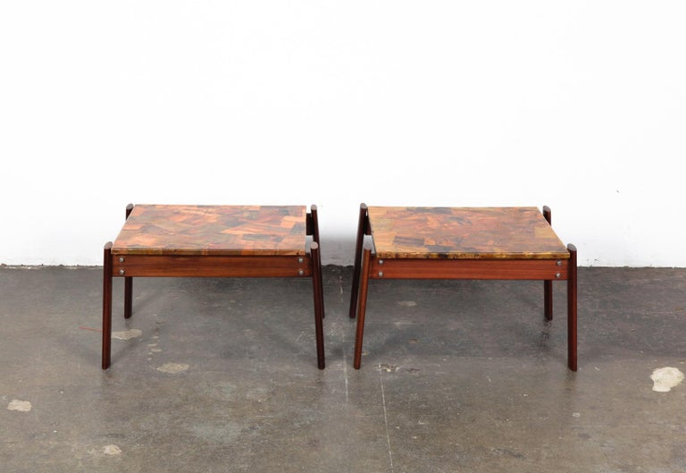 Unique pair of copper top solid imbuia wood end table designed by Percival Lafer and made by Lafer MP, Brazil, 1960s. Very sturdy construction with solid wood frames. .