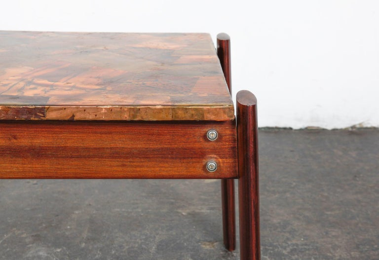 Pair of Copper Top Solid Imbuia Wood End Table Designed by Percival Lafer For Sale 14