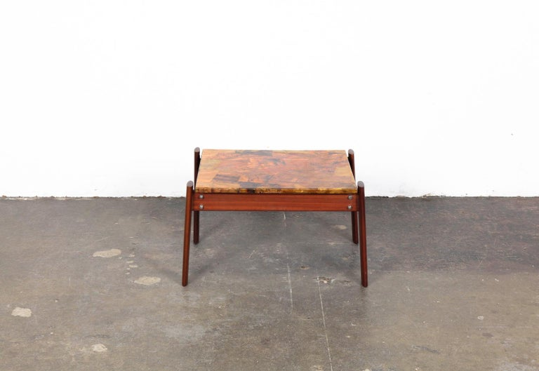 Mid-Century Modern Pair of Copper Top Solid Imbuia Wood End Table Designed by Percival Lafer For Sale