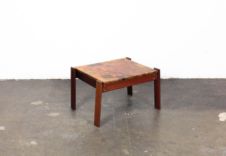 Brazilian Pair of Copper Top Solid Imbuia Wood End Table Designed by Percival Lafer For Sale