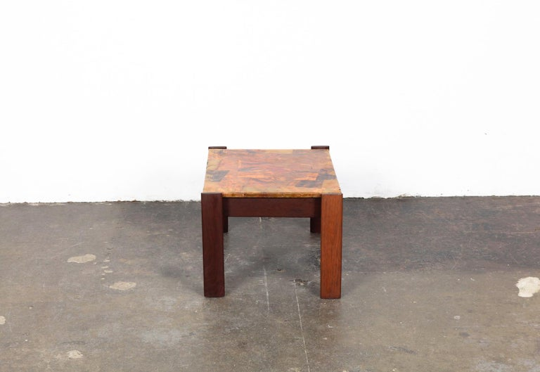 Pair of Copper Top Solid Imbuia Wood End Table Designed by Percival Lafer In Good Condition For Sale In North Hollywood, CA