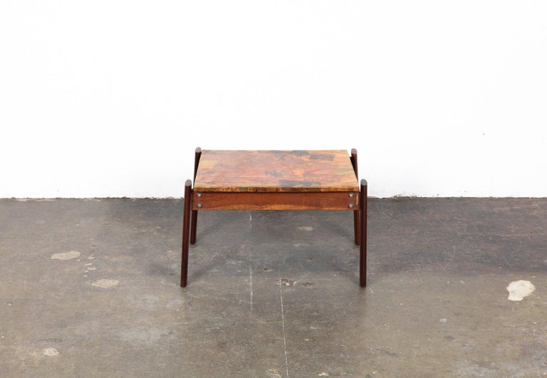 Mid-20th Century Pair of Copper Top Solid Imbuia Wood End Table Designed by Percival Lafer For Sale