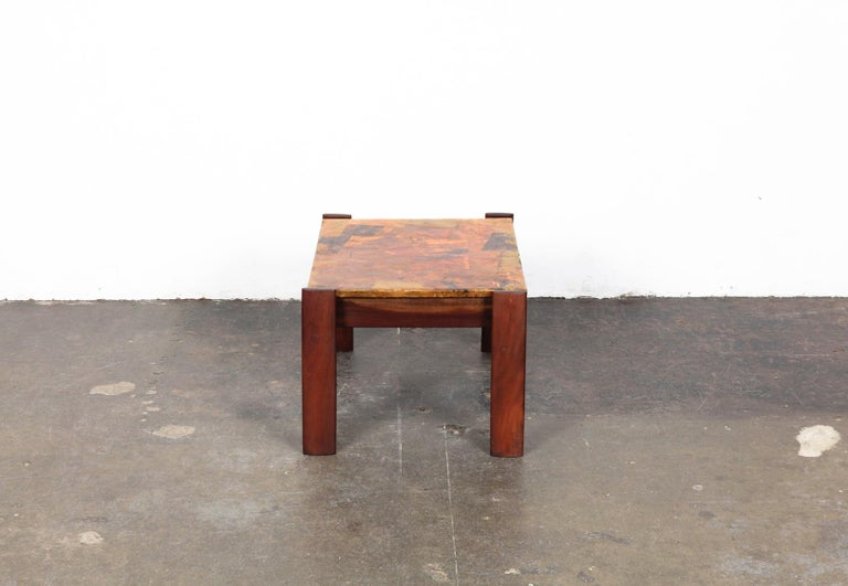 Pair of Copper Top Solid Imbuia Wood End Table Designed by Percival Lafer For Sale 1