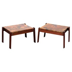 Pair of Copper Top Solid Imbuia Wood End Table Designed by Percival Lafer