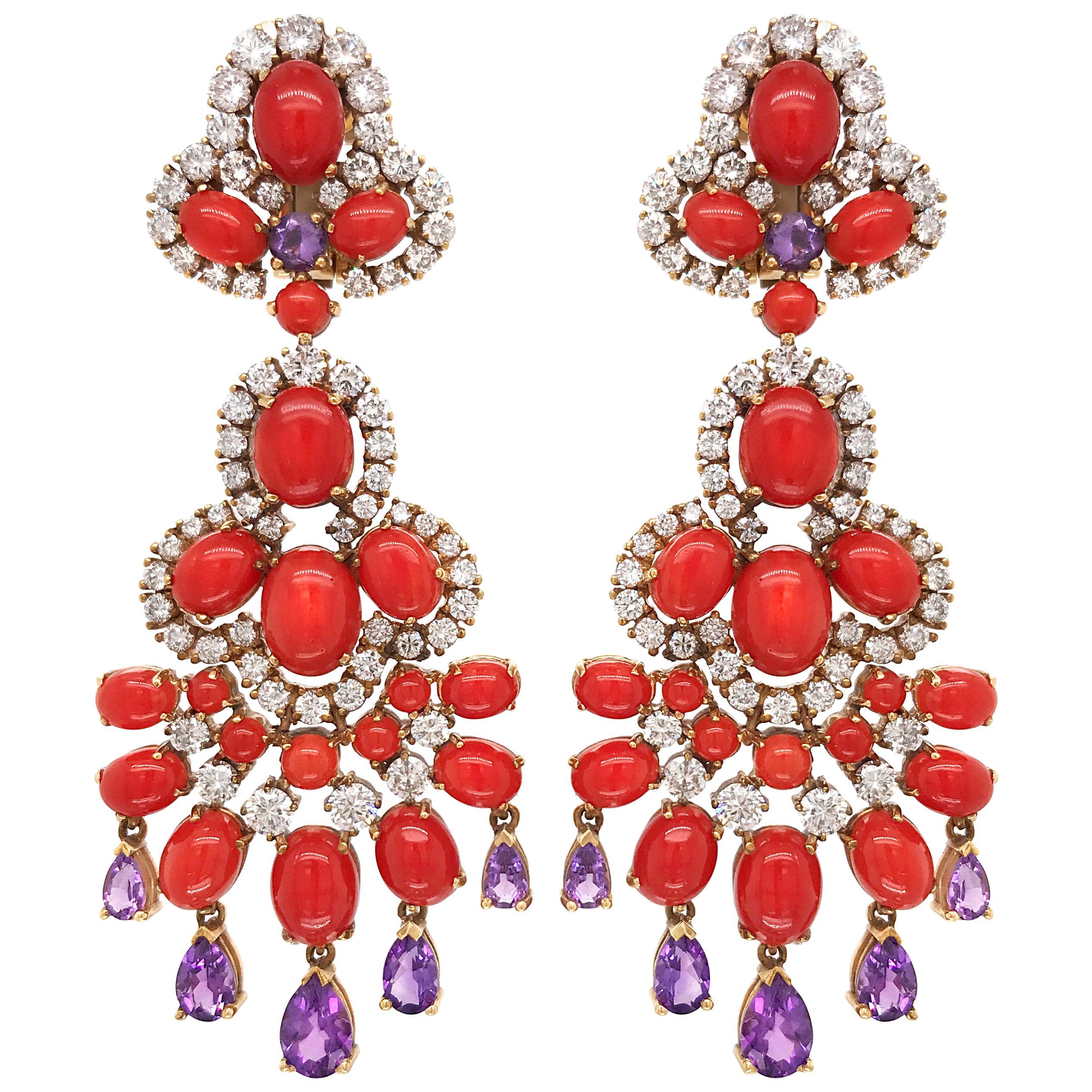 Pair of Coral, Amethyst and Diamond Earrings, Van Cleef & Arpels
