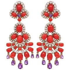 Pair of Coral, Amethyst and Diamond Earrings, Van Cleef & Arpels