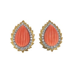 Pair of Coral and Diamond Earrings by David Webb