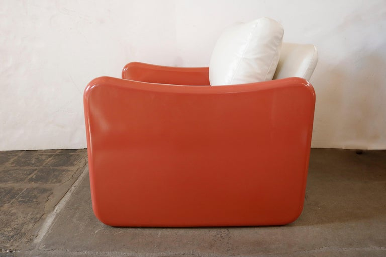 American Pair of Coral and White Lounge Chairs by Metropolitan For Sale